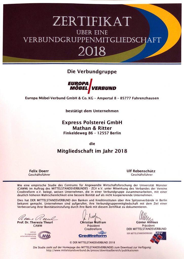 Express Polsterei GmbH - Berlin - Zertifikat