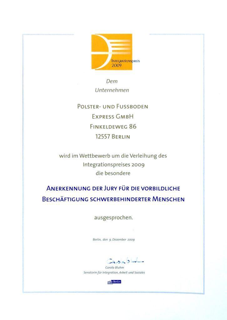 Integrationspreis - Expresspolsterei Berlin - Ihre Polsterei in Köpenick